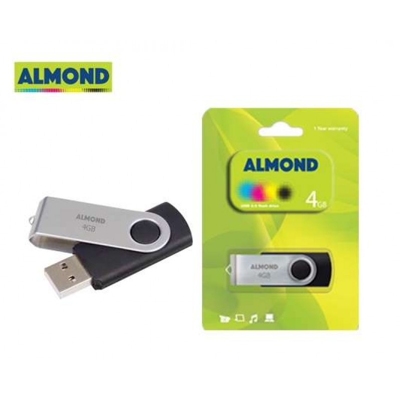ALMOND FLASH DRIVE USB 4GB TWISTER ΜΑΥΡΟ